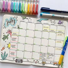 Monthly spreads can help keep you grounded and ready for summer productivity. here are some ideas you can implement into your own bullet journal! Bullet Journal Lists, Bullet Journal Writing, Bullet Journal Headers, Bullet Journal Banner, Bullet Journal Monthly Spread, Bullet Journal School, Bullet Journal Aesthetic, Bullet Journal Layout, Bullet Journal Inspiration