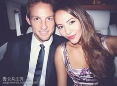 Jenson Button & his pretty girlfriend.