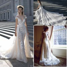 Wedding Dresses Photos Berta 2016 Spring New Over Skirts A Line Lace Wedding Dresses Sheer Crew Neckline Illusion Bodice Appliques Bridal Gown Short Sleeves Ba0265 Wedding Dresses Shop From Babyonline, $197.91| Dhgate.Com