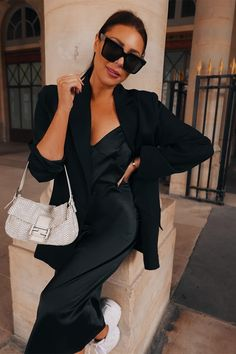 Order the Lorna Luxe Black 'samantha' Satin Slip Dress from In The Style. Slip Dress Outfit, Black Dress Outfits, Summer Dress Outfits, Work Outfits, Dress Summer, Black Satin Dress, Black Dress With Sleeves, Luxe Clothing, Satin Slip