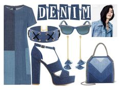 """DENIM DRESS"" by tomboy-1-lol ❤ liked on Polyvore featuring J Brand, Bamboo, STELLA McCARTNEY, Ray-Ban and Ben-Amun"