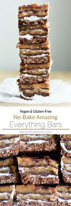 No-Bake Amazing Everything Bars -- Vegan + Gluten-Free + so deliciously rich! They're filled with chocolate, peanut butter and coconut -- and NO refined sugar! Healthy Vegan Snacks, Vegan Treats, Vegan Foods, Healthy Desserts, Delicious Desserts, Vegan Dessert Recipes, Gluten Free Desserts, No Bake Desserts, Vegan Gluten Free