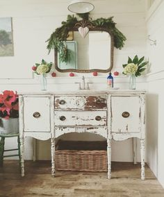 A buffet turned bathroom vanity via 'D.D.'s Cottage and Design: A Bit More Christmas Around My House'