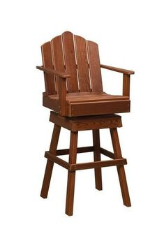 Amish Cedar Wood Captain's Swivel Chair Comfy captain's chair with a fun swivel. Made with solid cedar wood that naturally resists decay. #captainschair #outdoorseating #woodfurniture Cedar Furniture, Outdoor Dining Furniture, Amish Furniture, Outdoor Chairs, Adirondack Chairs, Cheap Pergola, Pergola Kits, Bistro Table Set, Red Cedar Wood