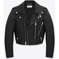 Saint Laurent Cropped Motorcycle Jacket ($4,500) ❤ liked on Polyvore featuring outerwear, jackets, cropped moto jacket, black jacket, genuine leather jacket, biker jacket and leather jacket