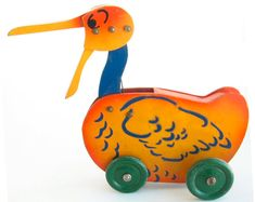 Vintage Push Toy Pelican Vintage Wooden Toy Vintage Pull Toy Blue and Orange Nursery Decor Old Toys Rolling Toy Duck Toy Goose Toy Duck Toy, Decoration, Vintage Toys, Etsy, Sketchbook Cover, Sketchbooks, Old Fashioned Toys, Wooden Toys, Decor