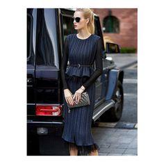 Navy Peplum Contrast Mesh Dress With Belt (2.685 RUB) ❤ liked on Polyvore featuring dresses, blue mesh dress, navy blue dress, navy dress, belted dress and blue peplum dress