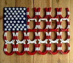 Summer Wreaths and DIY Projects - Patriotic Horseshoe Decor – easy to make! Welding Art Projects, Welding Crafts, Metal Projects, Metal Crafts, Diy Projects, Welding Ideas, Diy Welding, Welding Tools, Blacksmith Projects