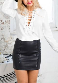 This white lace-up chiffon top is a non-stretchable piece that is unlined which can add some edginess to any outfit. | Lookbook Store Tops