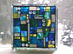 Stained Glass Block Mosaic in Blues Lamp Lighting Bookend Nightlight Mood Light Abstract Glass Art