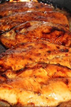 CARAMELIZED CHICKEN - Sooooo good & sooooo easy, 3 simple ingredients and just pop it in the oven! I didn't broil as suggested and I did more of a 'shake and bake' style with just putting the ingredients in a bag and shake to coat. I did this with 3 boneless chicken breasts and the ratio of seasoning to chicken was perfect!