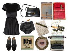 """CXLXX"" by historiamordercy ❤ liked on Polyvore featuring moda, Givenchy, Remington, Dolce&Gabbana, Hermès, vintage, black, blackdress, books y shakespeare"