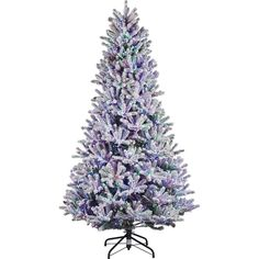 b7cd977e3 Pre-Lit LED Starry-Light Warm White and Multi Flocked Fraser Artificial  Christmas Tree with remote control