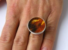 Amber Ring, ORANGE, transparent, matte sterling Silver rail,genuine amber,nuggets,modern design,for she, giftbox, New,UNIQUE-Handmade von JewellerWithSoul auf Etsy