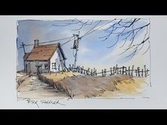 A Pen and Wash Watercolour. Fall Twilight Shadow Demonstration using only 3 colors. - YouTube