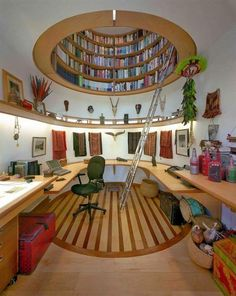 Cool home office with an overhead library : Mag101.com