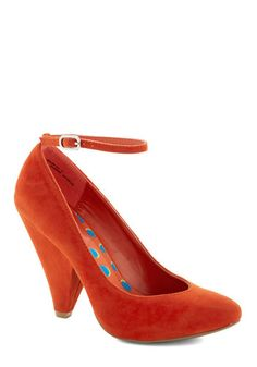 Unleash the Chic Heel in Poppy: Its just the kind of look that youre going for – a look thats so fabulously stunning  it will undoubtedly be the hit of the night! As you get ready for the even…    #1960s #60s #Retro #Vintage #ModCloth, #OrangeRed, #UnleashTheChicHeelInPoppy