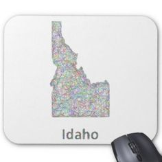 Idaho map mouse pad $12.10 *** idaho map - idaho - idaho state - map - state - outline - border - boundary - contour - drawing - design - vector - lines - silhouette - line art - usa - color map - territory - united states - boise - mouse pad