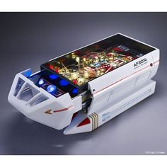 Altar Furniture created this amazing Star Trek Pinball Shuttlecraft Table. It is truly one of a kind. It's a pinball machine. It's also a table. Star Trek Tv, New Star Trek, Star Trek Merchandise, Flipper, Star Trek Collectibles, Cool Coffee Tables, Bar Accessories, Retro Furniture, A Table
