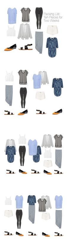 Packing List: Ten Pieces, Two Weeks. A very minimal packing list containing silhouettes I'd actually wear. 3 x tops, 1 x sweater, 3 x bottoms, 1 x dress, 2x shoes. For late summer, early fall.