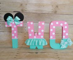 Minnie Mouse Party letters,Pink and Teal Birthday letters, nursery letters decorations. this listing is for 3 # Letters Minnie Mouse Theme Party, Minnie Mouse Pink, Minnie Birthday, Mouse Parties, 1st Birthday Parties, 2nd Birthday, Birthday Ideas, Birthday Decorations, Nursery Letters
