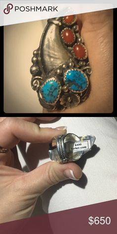 Native American Bear Claw Kingman Turquoise&Coral This bear claw vintage ring came in an old pawn collection my dad inherited from a friend after his passing. Came in the collectors special packing that had a little note saying it is Navajo, from the 1970's and was purchased on one of the mans trips to help out the Indians during cropping season. This is the time they would pawn their families treasures  in order to get the proper materials for their spiritual ceremonies. Size 10.5 Vintage…