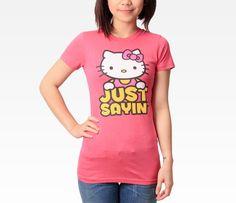 Hello Kitty Juniors Tee: Just Sayin in Clothing Women's Tops at Sanrio