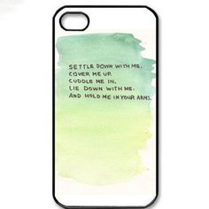 "iPhone 5/5S/SE PolyCarbonate with White Background and Green WaterColours and Text ""Settle Down with Me..."""