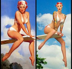 Mehosh Dziadzio recreates some of Gil Elvgrens pinup art with impeccable attention to detail