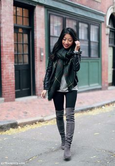 gray short coat outfit with high knee boots