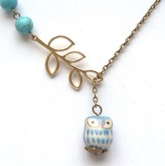 Antiqued Brass Leaf Turquoise Porcelain Owl Necklace.