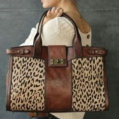 Fossil leather and leopard print bag. In LOVE! - Click image to find more Hair Beauty Pinterest pins