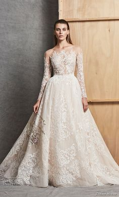 zuhair murad fall 2018 bridal long sleeves illusion bateau full embellishment princess elegant a line wedding dress chapel train (5) mv -- Zuhair Murad Fall 2018 Wedding Dresses