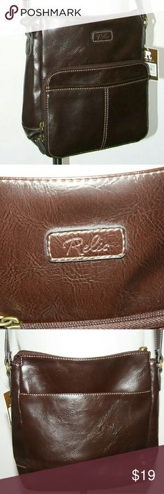 """NWT!  Relic PU leather brown crossbody bag NWT!  Relic PU leather brown crossbody bag. Organizer purse with front pocket loaded with slip in slots and easy zip access (see everything!).  10"""" x 10"""" x 4"""" depth at bottom.  Two large sxterior slip pockets.  Fill zip top closure. Easy care PU leather. Relic Bags Crossbody Bags"""