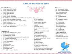 Lista de enxoval de bebe imprimir