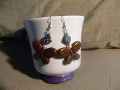 Brown glass butterfly earrings with fresh by MarquisCreations, $16.50