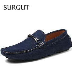 SURGUT Brand New Style High Quality Pigskin Leather Suede Men Flats Shoes Moccasins Men Loafers Fashion Summer Casual Shoes