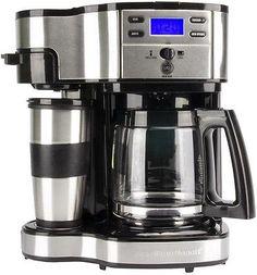 Hamilton Beach 49980Z 2 Way Brewer 12 Cup CoffeeMaker Coffee Singe Cup LCD w/Mug
