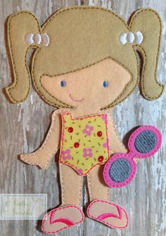 I Wish They All Could Be California Girls: Felt Girl Doll Swimsuit and Sunglasses Set Diy Quiet Books, Baby Quiet Book, Felt Quiet Books, Paper Dolls Clothing, Doll Clothes, Sewing Toys, Sewing Crafts, Diy Fairy Door, Butterfly Drawing