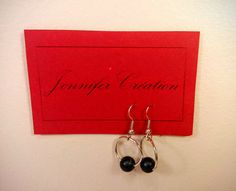 Handmade earrings with black pearl / Boucles par JenniferCreation