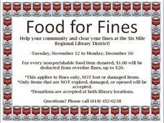 Food for Fines November 12 to December 16
