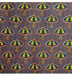 Wax - Tissu africain bleu marine, jaune, orange motif parapluie
