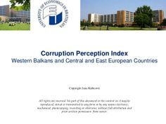 Corruption perception index - Western Balkans, Central and Eastern Europe by Jana Kubicová via slideshare
