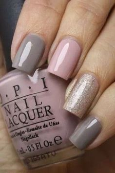 Nude Grey/Pink/Gold Glitter Nails
