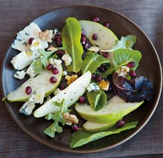 Winter Pear Salad with Blue Cheese, Walnuts and Pomegranate
