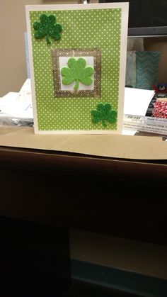 St. Patrick's day card made with washi tape and foam stickers #washi #green #shamrock #stpatricksday #polkadots #papercrafts #diy #homemade #card #greeting
