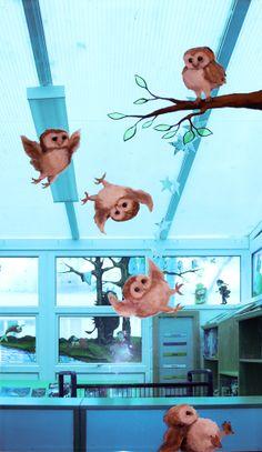 The Owl who was Afraid of the Dark window mural, school library Owl Babies, Baby Owls, Afraid Of The Dark, Light In The Dark, Classroom Displays, Classroom Ideas, Mural Painting, Paintings, Owl Who