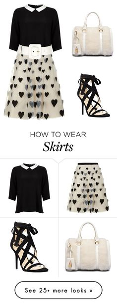 """""""heart skirt"""" by amanda-c-ferraz on Polyvore featuring Lipsy, Alice + Olivia, Yves Saint Laurent and Nine West"""