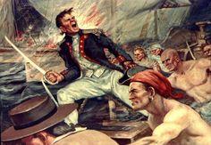 john paul jones will | ... yet begun to fight! - John Paul Jones, painting by Charles J. Andres
