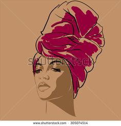 Attractive young African-american fashion model. Portrait of beautiful African woman.  Vector illustration. Vector portrait of beautiful African American woman in line art style. Side view.